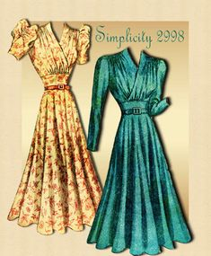 Simplicity 2998 Vintage 1930s Dress Pattern Pattern with Shirred Surplus Bodice
