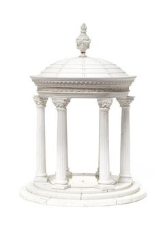 A European biscuit porcelain table centrepiece in the shape of a tempietto, french, circa 1900, having a circular dome surmounted with an urn with a burning flame, supported on six Corinthian columns on a three step base, 49.7cm high.