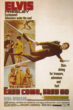 As a singing frogman in Easy Come, Easy Go, Elvis Presley spoofs the mid-sixties counter culture while trying to recover a treasure chest from a sunken ship Elvis Presley Movies, Elvis Presley Photos, Old Movie Posters, Film Posters, World Movies, King Of Hearts, Classic Movies, Vintage Movies, Rock N Roll