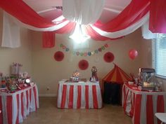 Carnival birthday party - big top ceiling decor for inside barn.