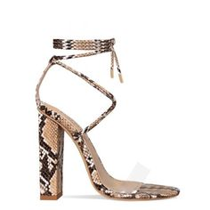 8f259ffd2f6 Tifany Beige Snake Clear Lace Up Block Heels