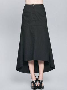 Black Pockets Casual High Low Maxi Skirt