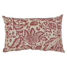 """The Floral Damask Pillow - Red/Tan is part of the dramatic and enchanting Damask decorative pillow collection. 100% cotton material makes them super smooth and durable. 100% fill makes them firm. Match this gorgeous red pillow on a red couch or chair, or mix it up on another color. Give it a toss. Dimensions: 18""""x18"""""""