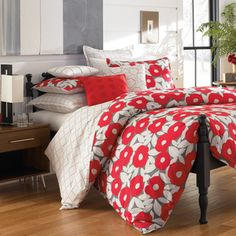 Red Poppy Cotton Percale 3-piece Duvet Cover Set with Optional Euro Sham | Overstock.com Shopping - The Best Deals on Duvet Covers
