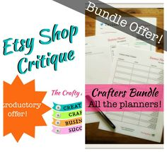 Etsy Business Planner downloads and Etsy Critique bundle offer!  Craft planner downloads, etsy shop help, etsy business, organised business