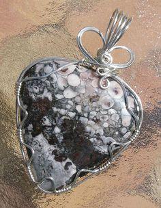 Arizona Orbicular Jasper Pendant in Silver Parawire