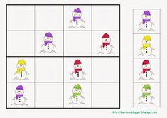 PETIT MON: SUDOKUS D'HIVERN Montessori Activities, Kindergarten Activities, Sudoku Puzzles, Winter Project, Preschool Education, Math For Kids, Christmas Games, Worksheets For Kids, Creative Thinking