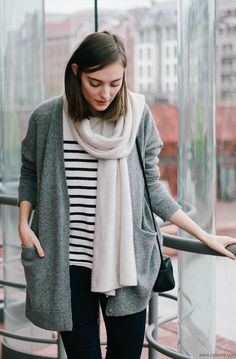 long bob+ stripes + grandpa sweater.