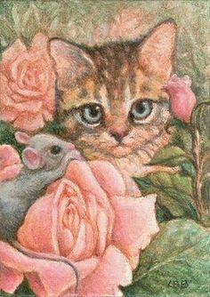 12 beaux tableaux de lynn bonnette - Page 2 Illustrations, Illustration Art, Gatos Cats, Cat Mouse, All About Cats, Cat Paws, Art World, Pet Birds, Cats And Kittens
