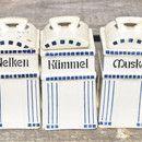 Fünf kleine Basel Vorratsdosen Zimmt , Muskat, Kümmel , Nelken und Pfeffer aus Keramik  Maße:  Höhe: ca. 12 cm Breite: ca. 6 cm Tiefe: ca. 6 cm  Kleinere Abplatzer vorhanden. Innen...
