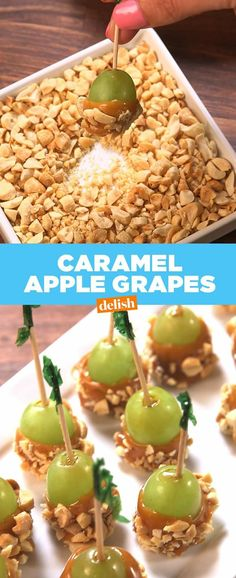 Apple Grapes It's official: Caramel Apple Grapes are the cutest way to booze up this fall. Get the recipe from .It's official: Caramel Apple Grapes are the cutest way to booze up this fall. Get the recipe from . Grape Recipes, Fruit Recipes, Apple Recipes, Fall Recipes, Appetizer Recipes, Holiday Recipes, Snack Recipes, Dessert Recipes, Appetizers