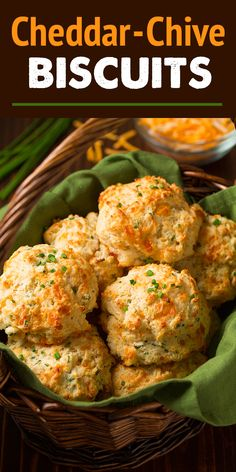 Cheddar-Chive Drop Biscuits (Cooking Classy) With Thanksgiving just around the corner you may be realizing you just won't have the time to prepare rolls and wait for them to rise. And that is where these beloved Cheddar-Chive Drop Biscuits step Drop Biscuits, Muffins, A Food, Good Food, Christmas Cooking, Holiday Dinner, Holiday Recipes, Christmas Recipes, Christmas Ideas