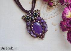 Owl pendant, bead embroidery, amethyst, amethyst chips, a master class, u, MC scheme braiding cabochon