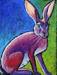 9x12 Original Jackabbit Painting Oil Pastel by AndeHallFineArt