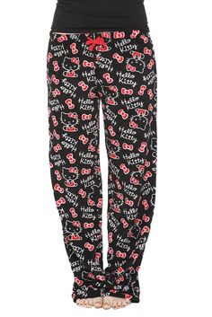 Hello Kitty Black Plush Pajama Pants