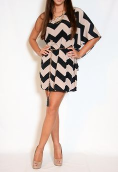Black and Taupe Chevron Striped Dress.