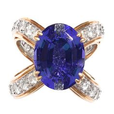 Tiffany & Co. Tanzanite Ring by Donald Claflin | From a unique collection of vintage cocktail rings at http://www.1stdibs.com/jewelry/rings/cocktail-rings/