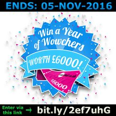 ENDS 05-NOV-2016  --  #Win up to £6000 of #Wowcher #Prizes! >bit.ly/2ef7uhG< #competition #giveaway #sweepstakes #voucher