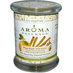 Aroma Naturals, 100% Natural Soy Essential Oil Candle, Peace Pearl, Orange, Clove
