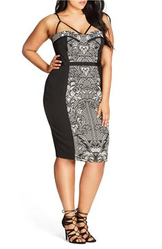 012ffa6043079 City Chic Seductive Strappy Block Print Sheath Dress (Plus Size) Fashion  2018