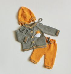 Baby girl set grey and golden baby girl outfit newborn set knitted sunny yellow . : Baby girl set grey and golden baby girl outfit newborn set knitted sunny yellow set MADE TO ORDER – Baby Girl Dress Patterns, Baby Clothes Patterns, Baby Patterns, Baby Dress, Knitted Baby Outfits, Knitted Baby Clothes, Knitting Baby Girl, Crochet Baby, Diy Kleidung