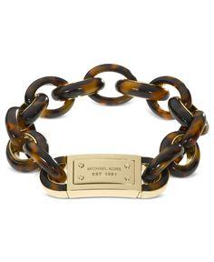 Michael Kors Bracelet, Gold Tone Tortoise Link Bracelet - - Macy's