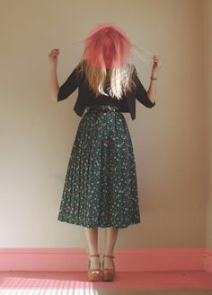 floral midi skirt-- I have one EXACTLY like this and I'm trying to find ideas for styling