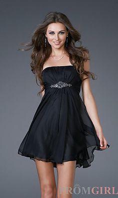 La Femme Short Black Strapless Dress 15851 at PromGirl.com