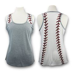 Trendy baseball tank top shirt for moms, women, teens and more. This is the most adorable shirt to wear to baseball games, practice or to workout out at the gym. The tops run true to size and feature baseball laces on the shirt back. TRENDY: Get this cute and fun baseball tank top today for yourself or a friend. GIFT I