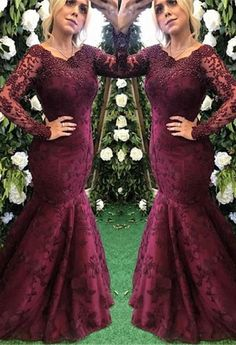 Looking for custom made elegant Long Sleeves mermaid lace appliques evening dress, formal dress on sale. Free shipping, high quality, fast delivery, made to order dress. Discount price. Affordable price. Ballbella Trendy Dresses, Dresses For Sale, Bridesmaid Dresses, Prom Dresses, Formal Dresses, Evening Dresses Online Shopping, Burgundy Evening Dress, Mermaid Evening Dresses, Lace Applique