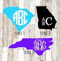 30% off ENTIRE Etsy shop!  Use code GRANDOPENING15   This is a Vinyl Decal in the shape of the state of your choice. There are three style options for monogram fonts.    The state and monogram can be