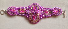 Soutache Bracelet Hot Pink and Purple por bjswearableart en Etsy