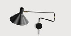 Ogilvy Swing Arm Wall Lamp, Matt Black and Antique Brass