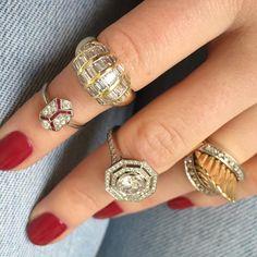 Vintage diamond Bear Brooksbank rings stacked