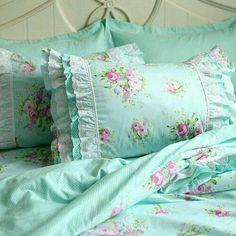 Green Rose Blossom Pillow Sham Bedding Duvet Cover by LovelyDecor Pillow Shams, Bedding Sets, Bed Pillows, Pillow Cases, Cushions, 100 Cotton Duvet Covers, Bed Duvet Covers, Duvet Cover Sets, Bedrooms