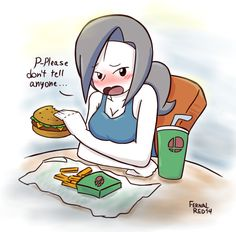 Aw look at her she is embarrassed that she is eating junk food. Naughty Wii Fit Trainer by FernalRed on DeviantArt Smash Bros Wii, Super Smash Bros Memes, Nintendo Super Smash Bros, Super Mario Bros, Wii Fit, Nintendo Characters, Video Game Characters, Video Games Funny, Funny Games