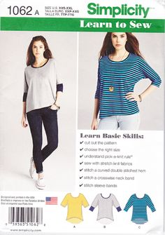 Simplicity Learn to Sea Sewing Pattern 1062, Misses Knit Top