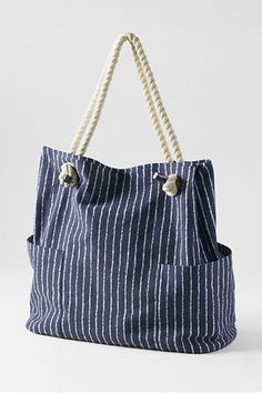 Lands' End Deep Sea Stripe Rope Handle Tote Bag. Super-strong 100% cotton canvas.