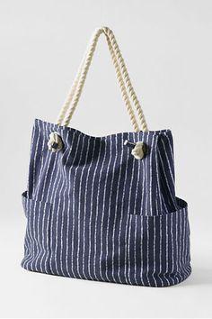 Lands' End Deep Sea Stripe Rope Handle Tote Bag. Super-strong 100% cotton canvas.