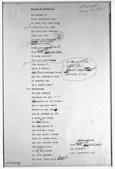 """Blog Post: """"Blog Round-Up: Primary Sources and Poetry"""" by Steve Wesson, April 8, 2014. Pictured: The first draft of """"Ballad of Booker T."""" by Langston Hughes. May 3, 1941. From the Langston Hughes Papers, 1921-1941, Library of Congress Manuscript Division."""