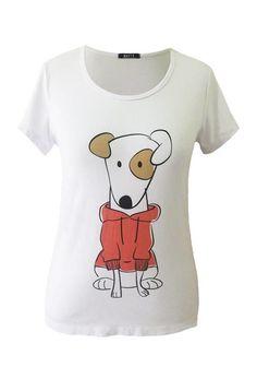 Blusa t-shirt branca manga curta com estampa de um cachorrinho malhado. Dog  super 0226eb18a1