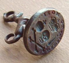 1759 Memento Mori Crowned Skull And Crossbones Orb Scepter Wax Seal Fob.