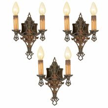 Set of 3 Romance Revival Double-Candle Sconces c1928   Restored Lighting, Antiques & Vintage Finds from Rejuvenation