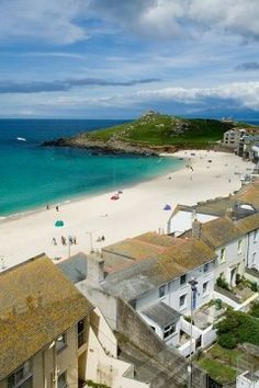 St Ives ~ Cornwall, England View of Porthmeor Beach and the Island