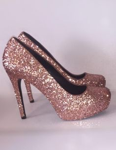 Women s Sparkly Metallic Rose Gold Pink Glitter high  amp  low Heels  Stiletto shoes - Glitter 2b8a3226c7d6