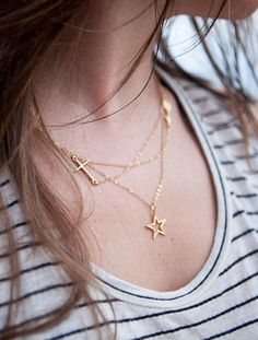 Keilani necklace triple layered gold charm