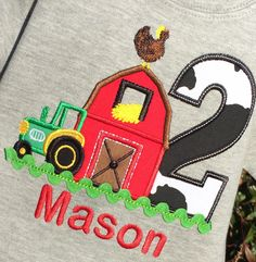 Farm yard Themed birthday tee on Grey by lilshabebe on Etsy Cow Birthday, 2nd Birthday Shirt, Farm Animal Birthday, Tractor Birthday, Boy Birthday Parties, Birthday Ideas, Farm Animal Party, Barnyard Party, Farm Party