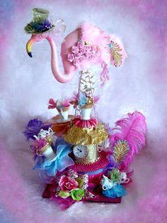 Gigantic Pink Flamingo Mad Hatter Alice in Wonderland Centerpiece - danielle this is happening