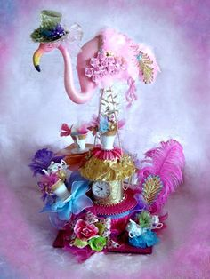 Gigantic Pink Flamingo Mad Hatter Alice in Wonderland Centerpiece - danielle this is happening