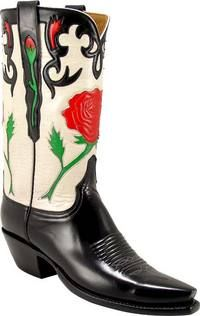 Lucchese Classics - L7033 - Your choice of Toe and Heel, 1 1/2inch Scallop, Rose Inlay and Collar, CJ Pullstraps with Rose Inlay